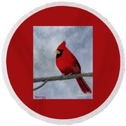 Cardnial Round Beach Towel by Tracey Goodwin