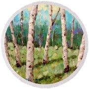 Carefree Birches Round Beach Towel
