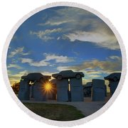 Carhenge - Nebraska - Sunset Round Beach Towel