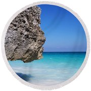 Caribbean Beach Rock Tulum Mexico Round Beach Towel