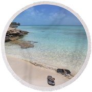 Caribbean Flippin Flops Round Beach Towel