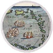 Caribbean Map Round Beach Towel