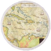 Caribbean Map II Round Beach Towel