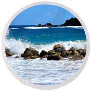 Caribbean Pounding Surf Round Beach Towel