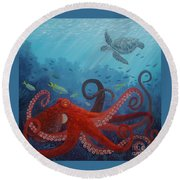 Caribbean Reef Octopus Round Beach Towel