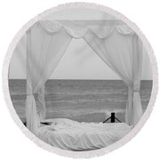 Caribbean Relaxation Bed Single Vertical - Height For Triptych Black And White Round Beach Towel