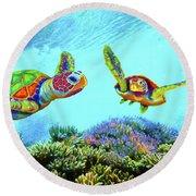 Caribbean Sea Turtle And Reef Fish Round Beach Towel