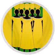 Caribbean Yellow Round Beach Towel