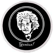 Caricature Of Albert Einstein Genius Round Beach Towel