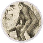 Caricature Of Charles Darwin Round Beach Towel