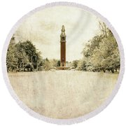 Carillon In The Snow Round Beach Towel