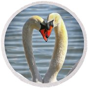 Caring Swans Round Beach Towel