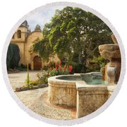 Carmel Church And Fountain Round Beach Towel