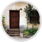 Carmel Mission Door Round Beach Towel