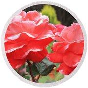 Carmel Mission Roses Round Beach Towel