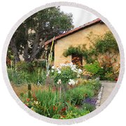 Carmel Mission With Path Round Beach Towel