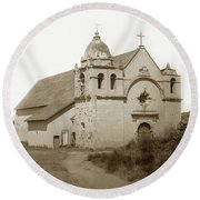Carmel Mission  With The New Peaked Roof  1884 Round Beach Towel