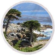 Carmel Seaside With Cypresses Round Beach Towel