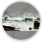 Carmel Wave Rock Round Beach Towel