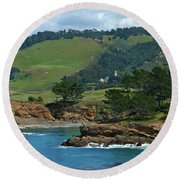 Carmelite Monastery Near Point Lobos Round Beach Towel