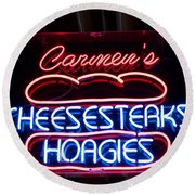 Carmens Cheesesteaks Round Beach Towel