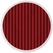 Carmine Red Striped Pattern Design Round Beach Towel