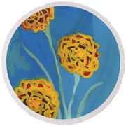 Carnations Against A Summer Sky Round Beach Towel