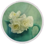 Carnations In A Jar Round Beach Towel