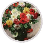 Carnations In A Vase Round Beach Towel