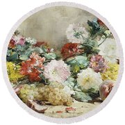 Carnations, Roses, Grapes And Peaches Round Beach Towel