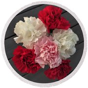 Carnations Round Beach Towel