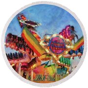 Carnival - A Most Colorful Ride Round Beach Towel by Mike Savad