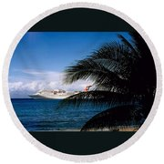 Carnival Docked At Grand Cayman Round Beach Towel