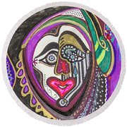Carnival Face Round Beach Towel