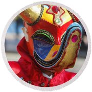 Carnival Red Duck Portrait Round Beach Towel