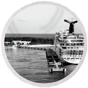 Carnival Sensation Cruise Ship - Grand Turk Island Round Beach Towel