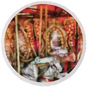 Carnival - The Carousel - Painted Round Beach Towel by Mike Savad