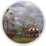 Carnival - Traveling Carnival Round Beach Towel by Mike Savad