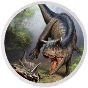 Carnotaurus Attacking An Antarctopelta Round Beach Towel