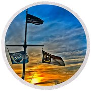 Carolina Beach Lake Flag Pole V2 Round Beach Towel