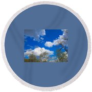 Carolina Blue Sky After The Rain Round Beach Towel