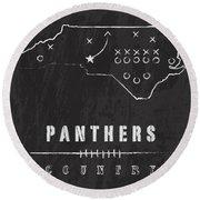 Carolina Panthers Art - Nfl Football Wall Print Round Beach Towel by Damon Gray