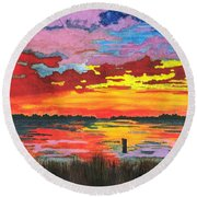 Carolina Sunset Round Beach Towel