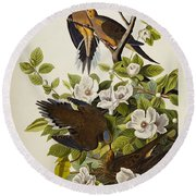 Carolina Turtledove Round Beach Towel by John James Audubon