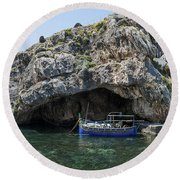 Caroline Cave And Maltese Traditional Boat Round Beach Towel