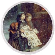 Carols For Sale  Round Beach Towel by Augustus Edward Mulready