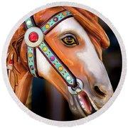 Carousal Horse Round Beach Towel