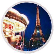 Carousel And Eiffel Tower Round Beach Towel by Elena Elisseeva