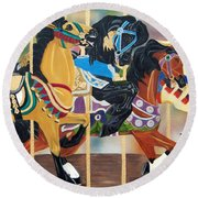 Carousel Beauties Round Beach Towel