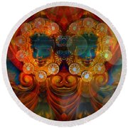 Carousel Faces, Twins Round Beach Towel